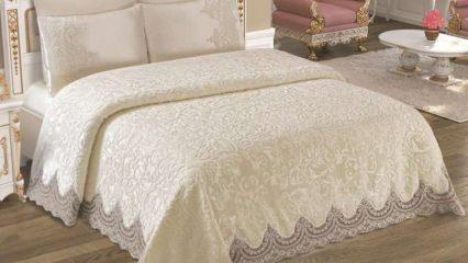 Yatak örtüsü modasında dantel şıklığı