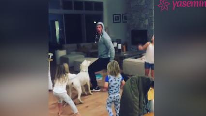 Çocuklarını eğlendiren çılgın baba!