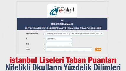İstanbul Liseleri taban puanları nitelikli okullar yüzdelik dilimleri 2019