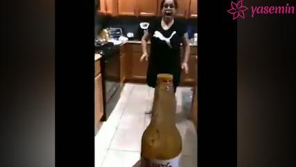 """Dünyayı sallayan """"Bottle Cap Challenge"""" akımına anne terliği!"""