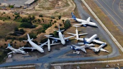 İstanbul'un uçak mezarlığı havadan görüntülendi