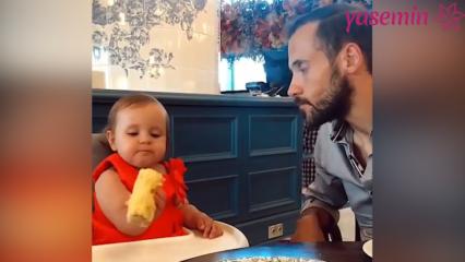 Ümit Erdim kızı Ses'in mısır yediği anları paylaştı!