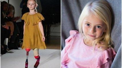 Moda haftasında bir ilk! Ampute çocuk manken Daisy-May Demetre podyumda...
