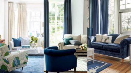 Lacivert koltuk dekorasyonu için birbirinden şık öneriler