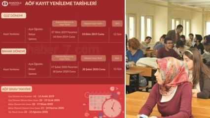 2019 - 2020 AÖF sınav tarihleri yayımlandı (Anadolu Üniversitesi)