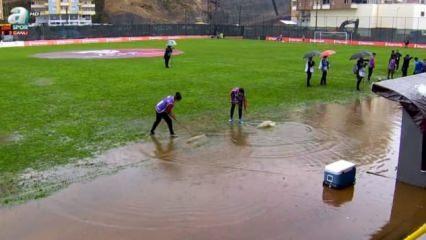 Türkiye Kupası maçını su bastı!