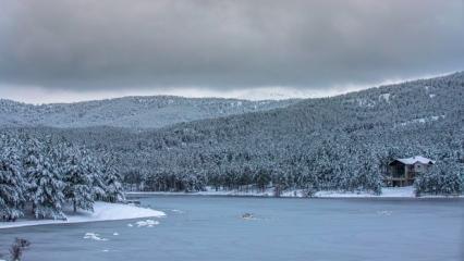 Afyon Akdağ Tabiat Parkı'nda buz tutan gölette ördek geçişi