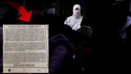 Çin'deki Türklerden gazeteye dikkat çeken koronavirüs ilanı