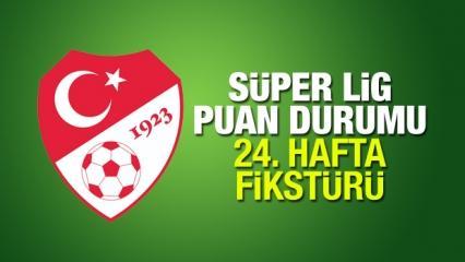 Süper Lig 24. hafta fikstürü güncel puan sıralaması