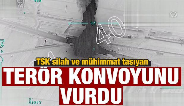 Afrin'e giden 40 araçlık terör konvoyu vuruldu!