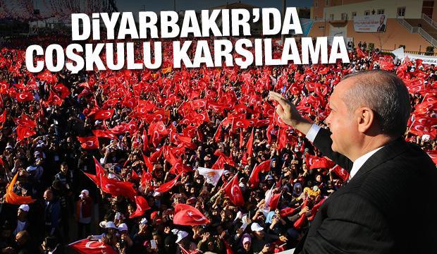 Erdoğan'a Diyarbakır'da coşkulu karşılama