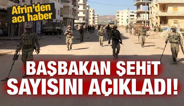 Afrin'den acı haber: Şehit sayısı belli oldu