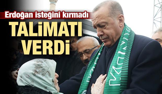 Erdoğan Müzeyyen teyzenin isteğini kırmadı