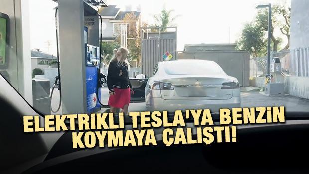 Elektrikli Tesla'ya benzin koymaya çalışan sürücü