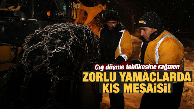 """""""Kar kaplanları""""nın zorlu yamaçlarda kış mesaisi"""
