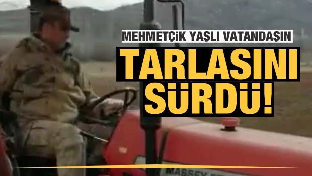 Mehmetçik, Kovid 19 nedeniyle evden çıkamayan yaşlı vatandaşın tarlasını sürdü